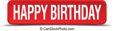 happy birthday red 3d square button on white background