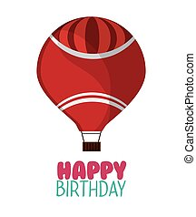 happy birthday red airballoon white background