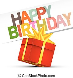 Happy Birthday. Red Gift Box on White Background. Vector.