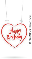 Happy birthday. red paper heart on White background. Vector