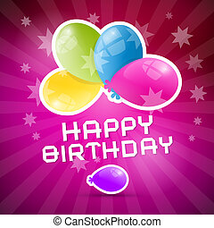 Happy Birthday Retro Pink Background with Colorful Balloons
