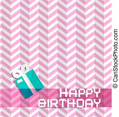 Happy Birthday Retro Pink Background with Gift Box