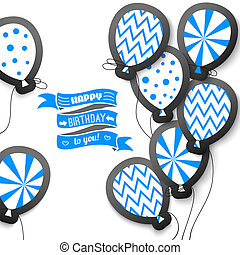 Happy birthday retro postcard with balloons. Vector