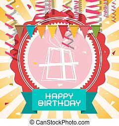 Happy Birthday - Retro Vector Card with Flags - Confetti and Gift Box on Red Label and Star Shape Golden Background