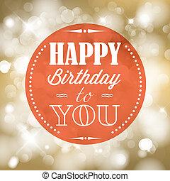Happy birthday retro vector illustration with lights in...