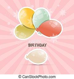 Happy Birthday Retro Vector Illustration with Balloons