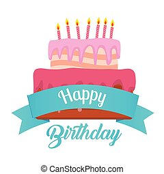 Happy Birthday Ribbon Cake Background Vector Image