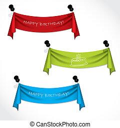 Happy birthday ribbons hanging