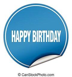 happy birthday round blue sticker isolated on white
