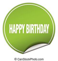 happy birthday round green sticker isolated on white