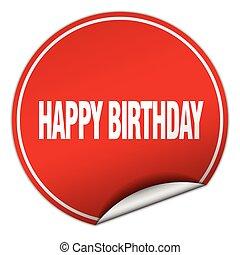 happy birthday round red sticker isolated on white