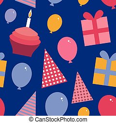 Happy birthday seamless pattern flat style set Cupcake with a candle, balloons, gift box, party hat.  vector