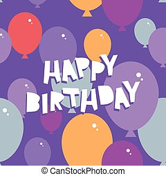 Happy birthday Seamless pattern with balloons. Purple background. Vector