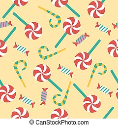 Happy Birthday Seamless Pattern with Candies for Children Party