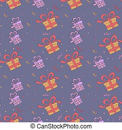 Happy Birthday Seamless Pattern with Presents for Children Party