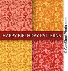 happy birthday seamless patterns