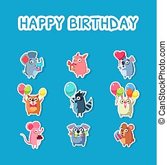 Happy Birthday Set, Cute Funny Animals Stickers with Balloons and Gift Boxes, Mouse, Pig, Cat, Raccoon, Rabbit, Balloon, Party, Bear, Elephant Vector Illustration