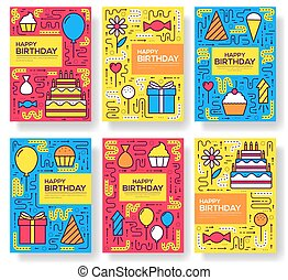 happy birthday set infographics template concept. Icons for your product or design, web and mobile applications. Vector flat with long shadow illustration on blue background