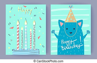 Happy Birthday Set of Posters Vector Illustration
