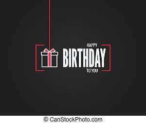 Happy birthday sign. Birthday gift box linear card on black background