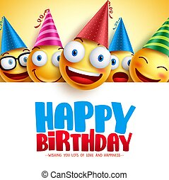 Happy birthday smileys vector background design