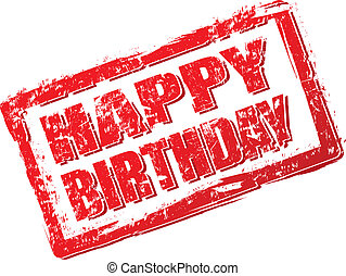 Red grunge stamp happy birthday on white. Vector illustration