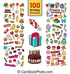 Happy Birthday Stickers Collection. Childish Party Decoration Set with Balloons, Gifts and Sweets. Vector illustration