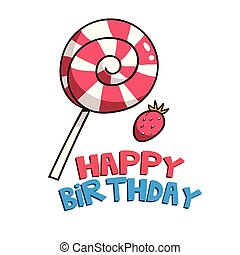 Happy Birthday Strawberry Candy Background Vector Image