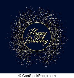 happy birthday stylish card design with glitter