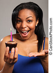 Happy birthday surprise for beautiful young girl - Happy...