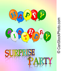 Happy Birthday Surprise Party - Illustration of colorful...