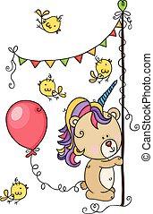 Happy birthday teddy bear and birds