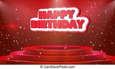 Happy Birthday Text Animation Stage Podium Confetti Loop Animation