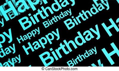 Happy Birthday Text Blue Loop