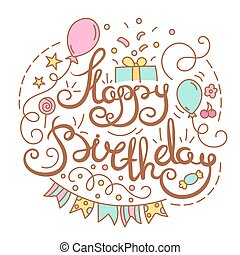 Happy birthday text with party element clip art vector search happy birthday text bookmarktalkfo Image collections