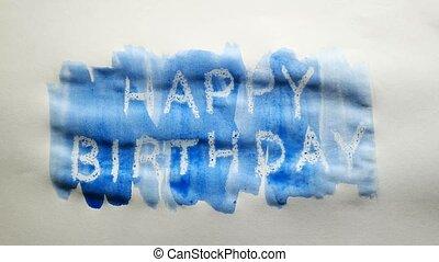 happy birthday text inscription watercolor artist paints...