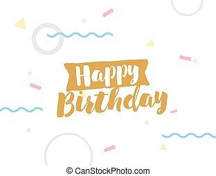 Happy Birthday text on geometric background