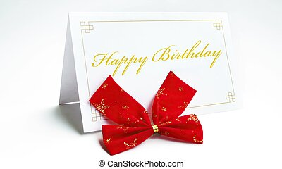 Happy birthday text on greeteng card with bow