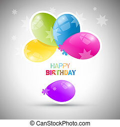 Happy Birthday theme, vector colorful air balls