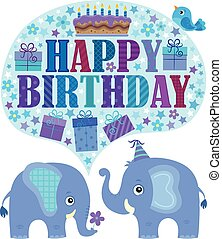 Happy birthday theme with elephants 2