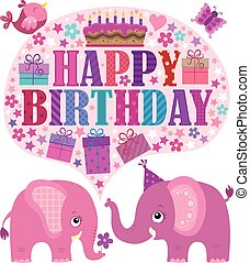 Happy birthday theme with elephants 3