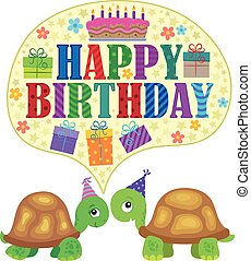 Happy birthday theme with turtles 1