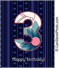 Happy birthday three card