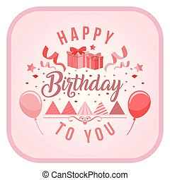Happy Birthday To You Balloon Ribbon Gift Box Background Vector Image
