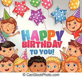 Happy birthday to you bright design with cute children