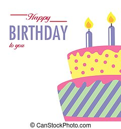 Happy Birthday To You Cake Background Vector Image
