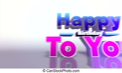 Happy Birthday To You Colourful 3D Motion Background
