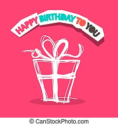 Happy Birthday to You Title with Gift Box Outline on Pink Background Illustration