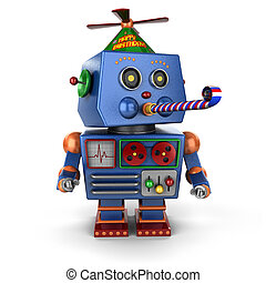 Happy Birthday toy robot - Funny toy robot wearing a happy...
