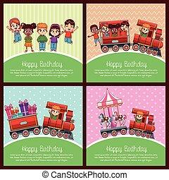 Happy birthday train cartoon